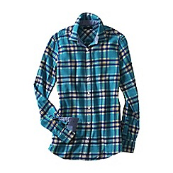 Lands' End - Blue chambray-trimmed flannel shirt