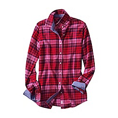 Lands' End - Red women's chambray-trimmed flannel shirt