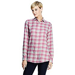 Lands' End - Pink women's chambray-trimmed flannel shirt