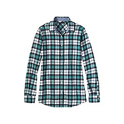 Lands' End - White women's chambray-trimmed flannel shirt
