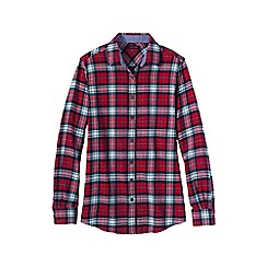 Lands' End - Red plus chambray-trimmed flannel shirt