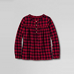 Lands' End - Red girls' long sleeve woven peasant top