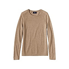 Lands' End - Beige women's petite cashmere long sleeve jumper