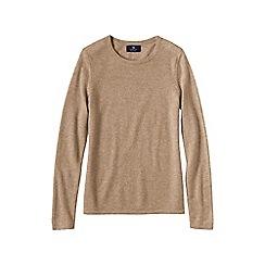 Lands' End - Beige women's petite cashmere long sleeve jumper
