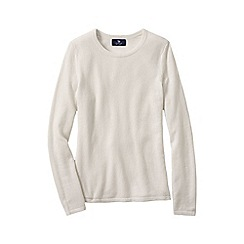 Lands' End - Cream women's petite cashmere long sleeve jumper