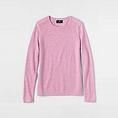 Lands' End - Pale pink women's petite cashmere long sleeve jumper