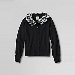 Lands' End - Black girls' long sleeve faux fur collar sophie cardigan