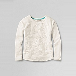 Lands' End - Cream little girls' long sleeve quilted embroidery french terry sweatshirt