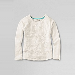 Lands' End - Cream girls' long sleeve quilted embroidery french terry sweatshirt