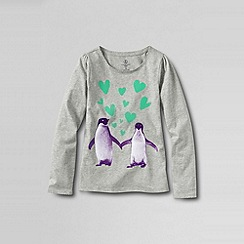 Lands' End - Grey little girls' scalloped edge festive graphic tee