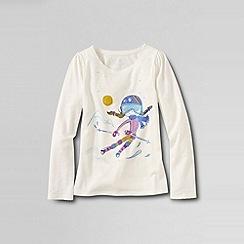 Lands' End - Cream little girls' scalloped edge festive graphic tee