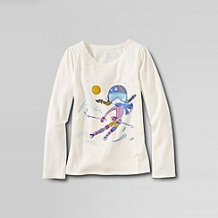 Lands' End - Cream girls' scalloped edge festive graphic tee