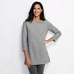 Lands' End - Grey women's starfish loop backed cotton dot print jersey tunic