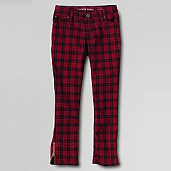 Lands' End - Red girls' plaid 5 pocket zip hem pencil trousers