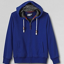 Lands' End - Blue men's sueded french terry sherpa lined full zip hoodie