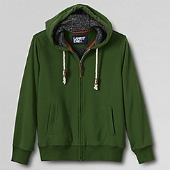 Lands' End - Green men's sueded french terry sherpa lined full zip hoodie