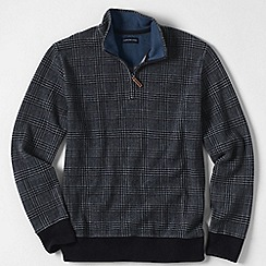 Lands' End - Grey men's black watch print brushed rib pullover