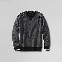 Lands' End - Grey men's quilted crew neck sweat shirt