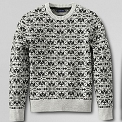 Lands' End - Grey men's regular snowflake lambswool sweater