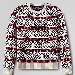 Lands' End - Cream men's regular fair isle lambswool crew neck sweater
