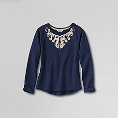 Lands' End - Blue girls' uneven hem applique french terry sweatshirt