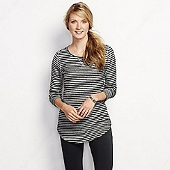 Lands' End - Cream women's regular starfish slub pullover top - stripe