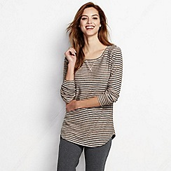 Lands' End - Beige women's regular starfish slub pullover top - stripe