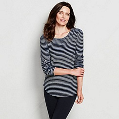 Lands' End - Blue women's regular starfish slub pullover top - stripe