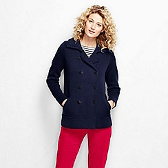 Lands' End - Blue women's cotton double breasted jacket sweater