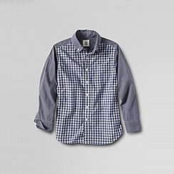 Lands' End - Grey little boys' pattern block poplin shirt