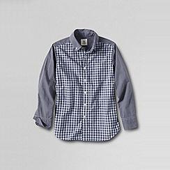 Lands' End - Grey little boys' pattern block poplin shirt