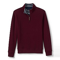 Lands' End - Red tall brushed rib half-zip pullover