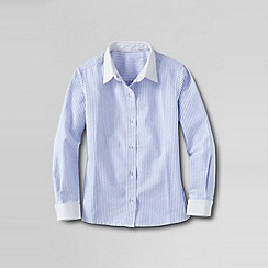 Lands' End - Blue little girls' contrast cuff woven shirt