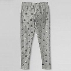 Lands' End - Grey little girls' glitter ankle knit leggings
