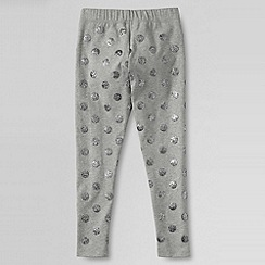 Lands' End - Grey girls' glitter ankle knit leggings