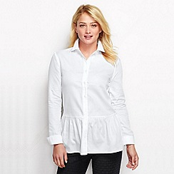 Lands' End - White women's regular drop waist cotton tunic
