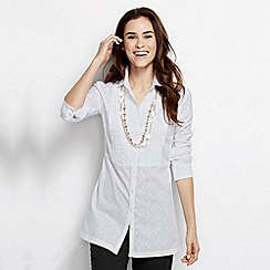 Lands' End - White women's regular pleated cotton tunic