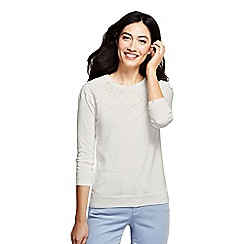 Lands' End - Cream supima lace trim three-quarter sleeve crew neck jumper