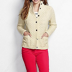 Lands' End - Cream women's lambswool aran cardigan