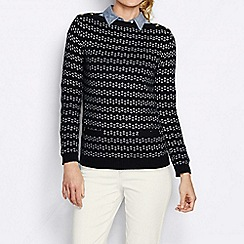Lands' End - Black women's lofty blend jacquard boat neck sweater