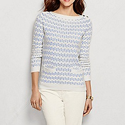 Lands' End - Cream women's lofty blend jacquard boat neck sweater