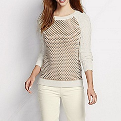 Lands' End - Cream women's diamond stitch sweater