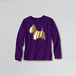 Lands' End - Purple girls' novelty crew neck graphic tee