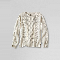 Lands' End - White girls' long sleeve aran cable boatneck jumper