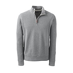 Lands' End - Grey regular heather brushed rib half-zip pullover