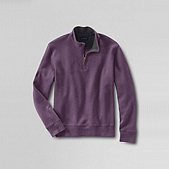 Lands' End - Pink men's regular heather brushed rib half-zip pullover