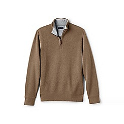 Lands' End - Brown regular heather brushed rib half-zip pullover