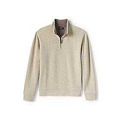Lands' End - Beige regular heather brushed rib half-zip pullover