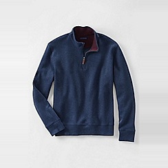 Lands' End - Blue men's regular heather brushed rib half-zip pullover