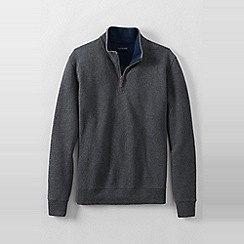 Lands' End - Grey men's regular heather brushed rib half-zip pullover